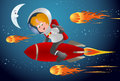 Comet racer illustration of a child racing with meteors riding red rocket on space background Stock Photography