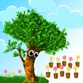Comfort zone. surprised tree looking at potted flowers. sky background. color illustration. psychology concept