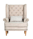Comfortable classic grey chair isolated Royalty Free Stock Photo