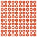 100 comfortable house icons hexagon orange