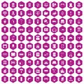 100 comfortable house icons hexagon violet