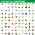 100 comfortable icons set, cartoon style