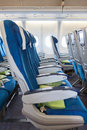 Comfortable seats in aircraft cabin Royalty Free Stock Photo