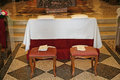 Comfortable seats for the bride and groom before the wedding Royalty Free Stock Photo