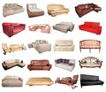 Comfortable sofas leather furniture isolated brown single object white Royalty Free Stock Photography