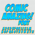 Comic alphabet set. Letters, numbers and figures for kids` illustrations websites comics banners.