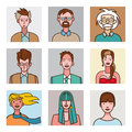 Comic avatars set a collection of nine avatar for men and women faces on style very useful for social networks mobile application Royalty Free Stock Photo