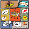 Comic best offer sale promotion bubbles comics on strip background vector illustration Royalty Free Stock Image