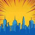 Comic blue cityscape explosive template