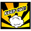 Comic book background Keep out! sign Card Pop Art office stamp Royalty Free Stock Photo