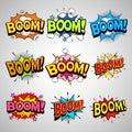 Comic book boom speech bubble set Royalty Free Stock Photo