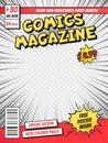 Comic book cover. Comics books title page, funny superhero magazine isolated vector template