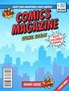 Comic book cover page. City superhero empty comics magazine covers layout, town buildings and vintage comic books vector