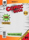 Comic book cover page template. Cartoon pop art comic book title poster, superhero comic book title page vector isolated