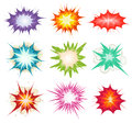 Comic book explosion bombs and blast set illustration of a of other cartoon fire bomb bang exploding symbols in various colors Royalty Free Stock Images