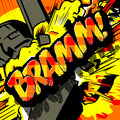 Comic book expression with the word bramm it is a showing explosion of something Royalty Free Stock Photo