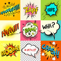Comic book expressions a set of speech bubbles and expression words vector illustration Stock Image