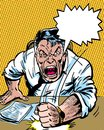 Comic book illustrated angry manager character with dialogue balloon