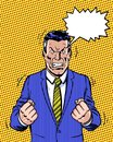Comic book illustrated angry manager with dialogue balloon