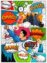 Comic book page divided by lines with speech bubbles, rocket, superhero and sounds effect. Retro background mock-up. Comics templa