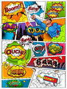 Comic book page divided by lines with speech bubbles, rocket, superhero and sounds effect. Retro background mock-up.
