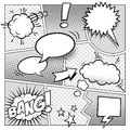 Comic book page a high detail mockup of a typical with various speech bubbles symbols and sound effects Stock Photos