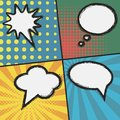 Comic book page template. Set of bubble speech at sunburst Royalty Free Stock Photo