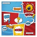 Comic book page vector template with cartoon elements and comic words in bubbles
