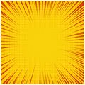 Comic book or pop art background. Vector stripes and halftone on yellow background.