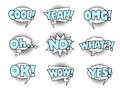 Comic book speech bubbles, cool action sound effect Royalty Free Stock Photo