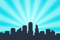 Comic book style background, big city skyline outlines. Royalty Free Stock Photo