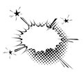 Comic book style explosion expression cloud retro design. Burst