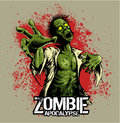 Comic book style zombie with red bloody stains on background