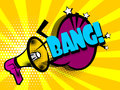 Comic book text advertising megaphone bang