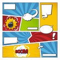 Comic book vector frame set with speech bubbles. Comics page template Royalty Free Stock Photo