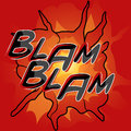 Comic book word blam blam the with style explosion Stock Photography