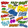 Comic book word set twenty five different on white background Royalty Free Stock Image