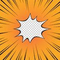 Comic book yellow. The flash of the explosion, the radial line on the transparent isolated background. Superhero. Vector.