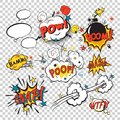 Comic boom set speech bubbles in pop art style with bomb cartoon and explosion text vector illustration Stock Photography