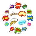 Comic bubbles set icons set, cartoon style