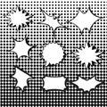 Comic burst speech bubbles set with halftone
