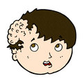 comic cartoon boy with ugly growth on head Royalty Free Stock Photo
