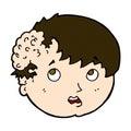comic cartoon boy with ugly growth on head Royalty Free Stock Photo