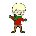 comic cartoon boy in winter clothes Royalty Free Stock Photo