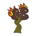 Comic cartoon burning old tree retro book style Royalty Free Stock Images