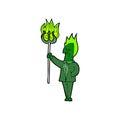 Comic cartoon devil with pitchfork retro book style Stock Photos
