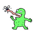 comic cartoon frog catching fly Royalty Free Stock Photo