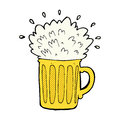 Comic cartoon frothy beer retro book style Royalty Free Stock Photography