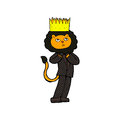 Comic cartoon king of the beasts retro book style Stock Image