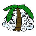 Comic cartoon palm tree symbol retro book style Royalty Free Stock Photos